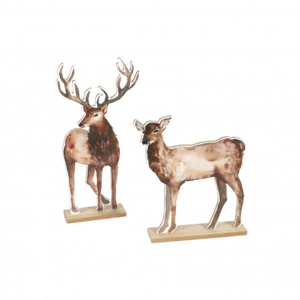 Hirsch/Reh, Holz, Fotodruck, sort. 20x5x26 cm+13x5x35cm, natur