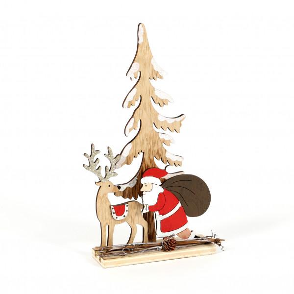 Winterlandschaft Santa mit Hirsch 13x30x5 cm, natur rot
