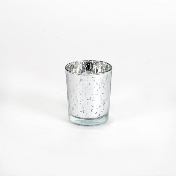 Teelichtglas silber verspiegelt 5,5x 6,5 cm
