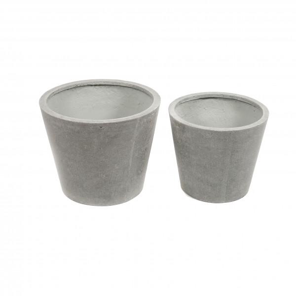 Creastone Pflanzer konisch, Set/2 50xh40cm / 40xh30cm, grau