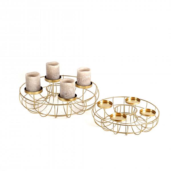 Metall Deko-Kranz mit 4 Kerzen- Tellern, gold