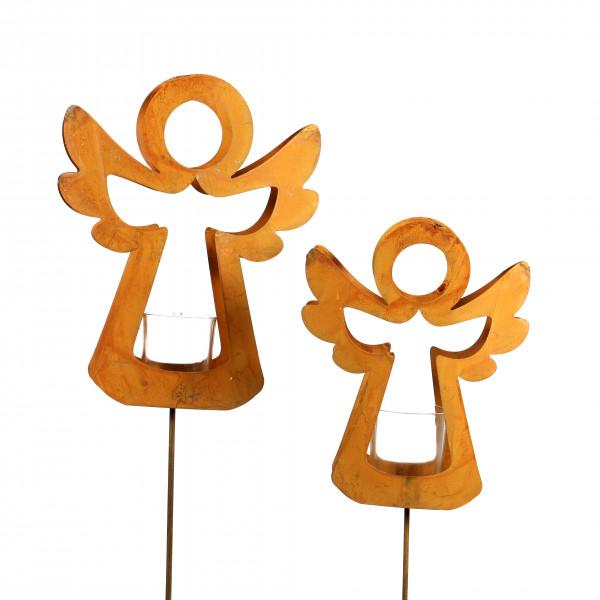Engel mit Tellichthalter am Stab 22 cm H 107 cm rost