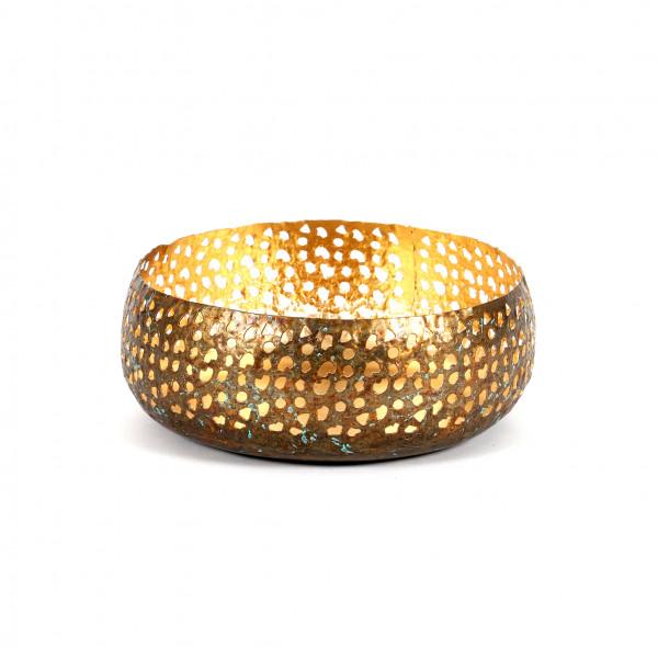 Schale Asine Metall, antik-gold 22x24x9 cm