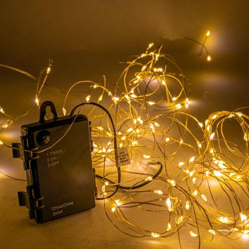 100 LED Lichterkette,990cm+30 cm,outdoor Silberdraht, Batterie, Timer 6/18 h