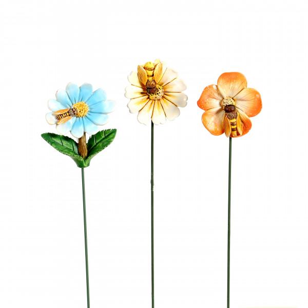 Poly Blüten-Stecker, mit Biene 3 Mod.sort. 4x1.5x22cm