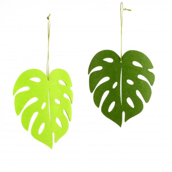 Monstera Dekoblatt,Filz,2 fb s ort. 25x22 cm grün