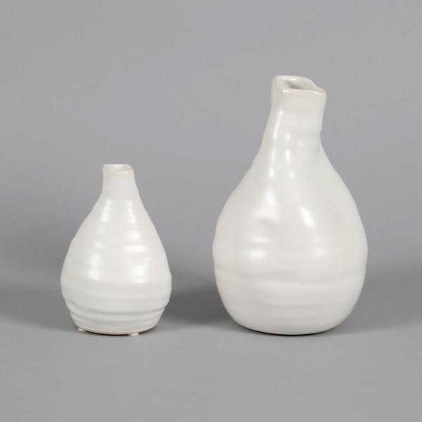 Keramik Vase, bauchig matt weiß glasiert