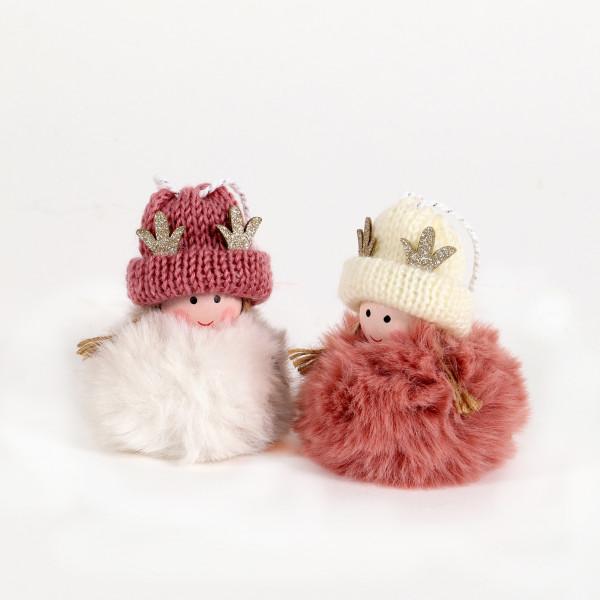 Winterkinder Susi und Froni Textil, 7x7x10 cm, rosa, 2 Modelle