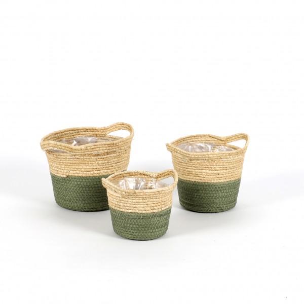 Korb Topf,aus weichem Naturblatt,dk.grün abgesetzt, rund Set/3, D.13,15,17 cm