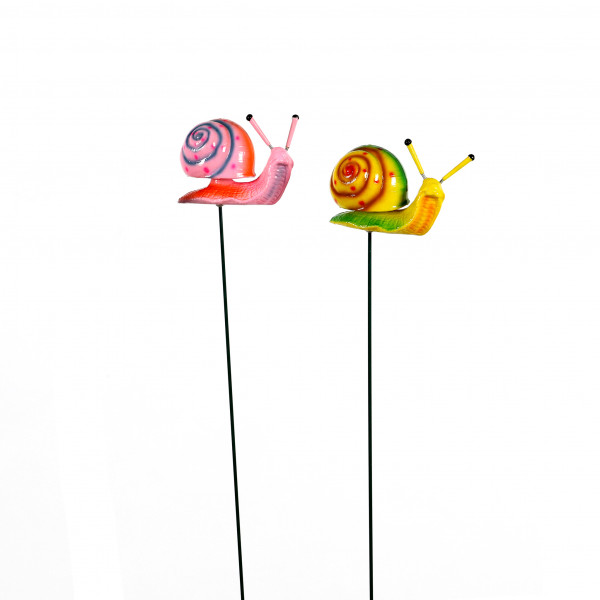 Gartenstecker Wackeltier Schneck,11x5x65 cm, 2 Farben sort.Kunststoff