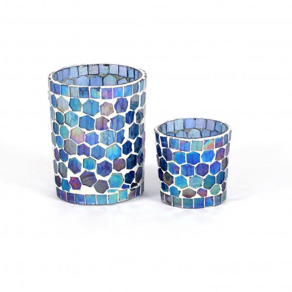 Votivglas Mosaik Glas, blau