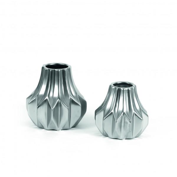 Keramik Vase Marlon barocke Form matt-silber