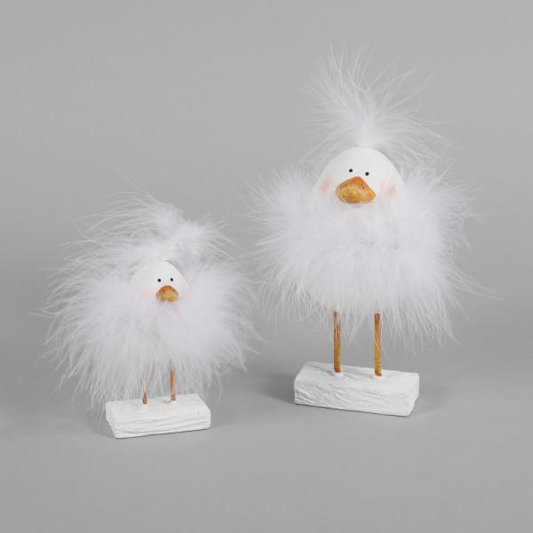 Poly-Ente Tily weiß mit Plüsch auf Sockel