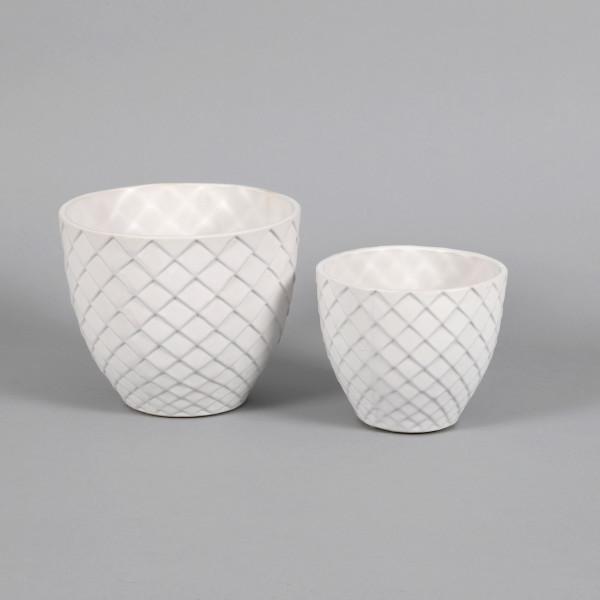 Keramik-Topf m.Rauten-Design
