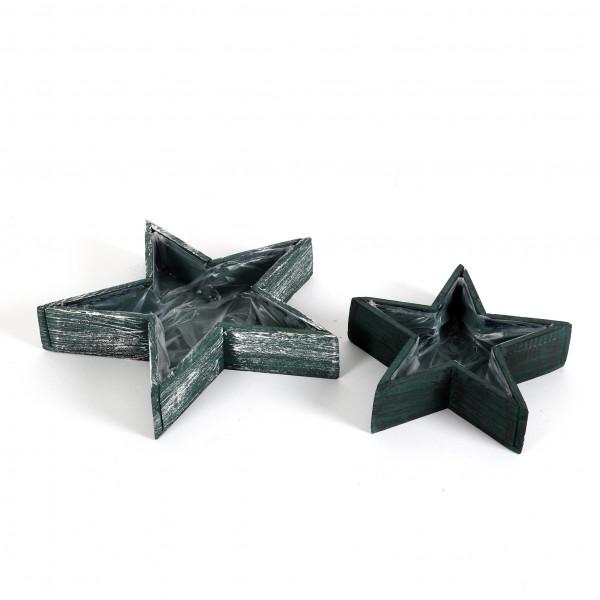 Sternentray,Holz, grün-weiß gewischt S/2, 33x6/25x6 cm
