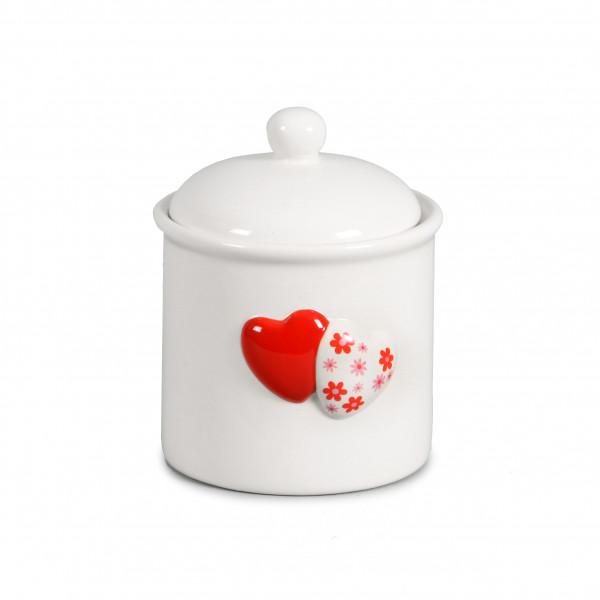 Keramik-Deckeldose weiß mit 2 Dekoherzen,rot 12xh.14cm