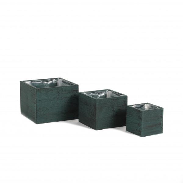 Holzkasten quadratisch, grün-schwarz gewischt, S/3, 17x13/13x11/9x9 cm