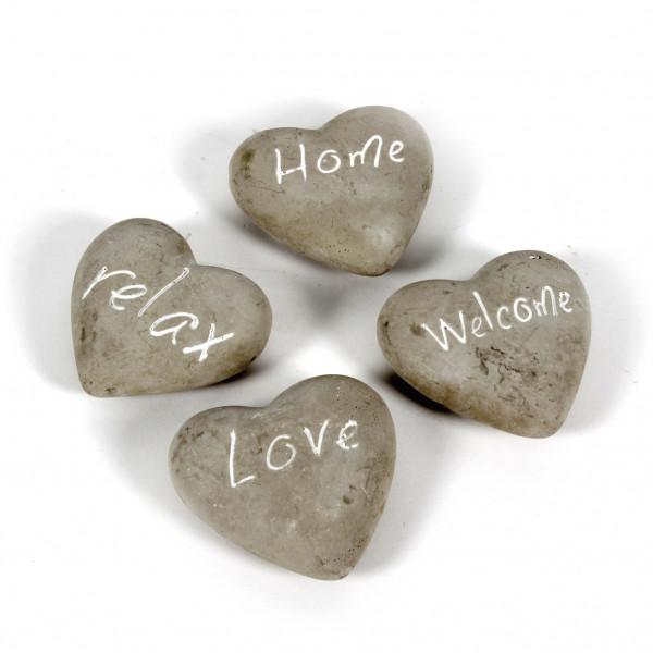 Deko-Herz, love/relex/welcome/ home,sort.grau/weiß