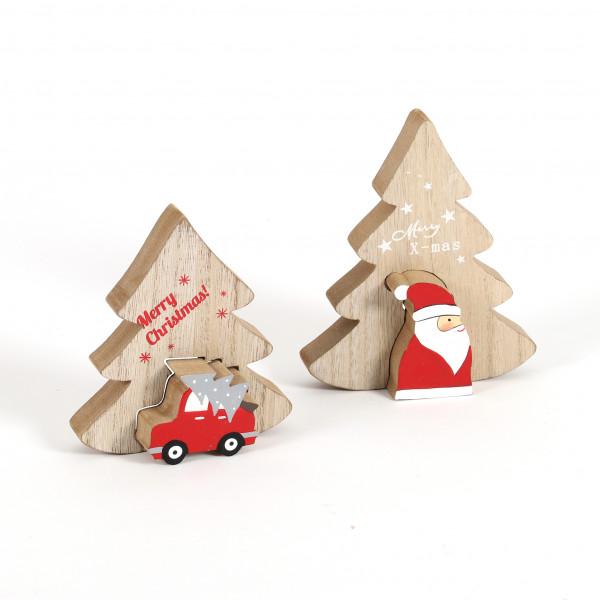 Baum mit 3D Santa/Auto, Holz,2 Mod. natur-rot, 11x2x14 cm