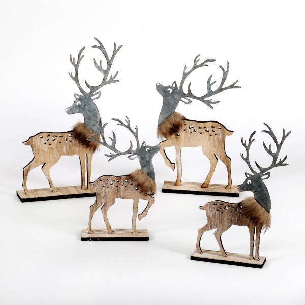 Hirsch, Holz Metall, 2 Modelle natur zink