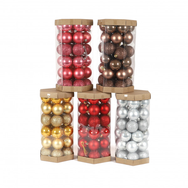 Kunststoffkugeln,6 cm,42 St./Hexagon Box matt/glitter/opal sort.
