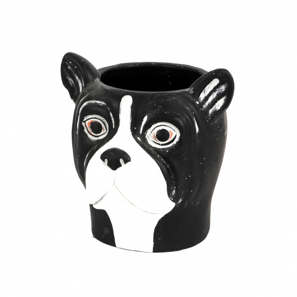 Zement Pflanz-Hund Oskar 19x18xh19cm schwarz-weiß