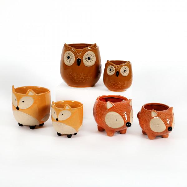 Keramik Pflanz-Tiere herbstlich 3 fach sortiert, Igel-Eule-Fuchs