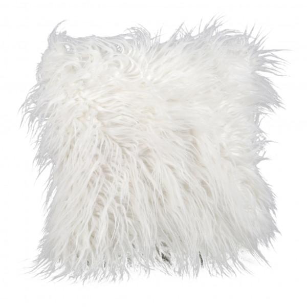 Deko-Kissen mit langhaar-Fell,36x36cm weiß