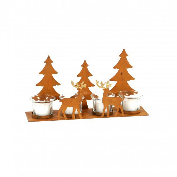 Metall-Teelichthalter Waldszene, rost 30x7.5x16cm, für 4 Teelichter
